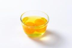 蛋白和卵黄质在玻璃碗 免版税库存图片