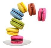 蛋白杏仁饼干和红色茶 免版税库存照片