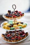 蛋白杏仁饼干和蓝莓馅饼 图库摄影
