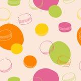 蛋白杏仁饼干无缝的样式甜食物桃红色绿色橙黄彩图艺术例证 库存图片
