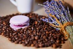 蛋白杏仁饼干用咖啡豆和淡紫色 免版税库存照片