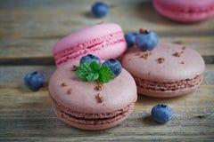 蛋白杏仁饼干用新鲜的蓝莓和巧克力 库存照片