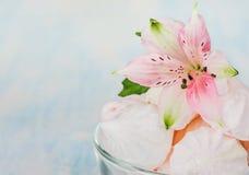 蛋白甜饼和花 免版税图库摄影
