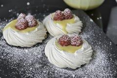蛋白甜饼柠檬酱 库存图片