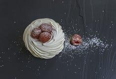 蛋白甜饼用莓 图库摄影