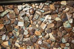 蛋白石石头用不同的形状和裁减 免版税库存图片