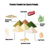 蛋白质粉末infographic集合 皇族释放例证