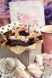 蛋白软糖、巧克力和饼干棒 库存图片