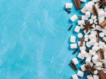 蛋白软糖和冬天香料在蓝色背景 免版税图库摄影