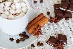 蛋白软糖咖啡和巧克力为冬天 免版税库存照片