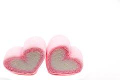 蛋白软糖甜心形状在白色背景decoratio的 免版税库存图片