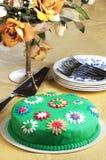 蛋白软糖Foundant蛋糕花蛋糕切片 库存照片