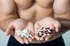 蛋白质:自然或综合性食物? 库存照片