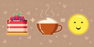 蛋糕、热奶咖啡杯子和微笑 库存照片