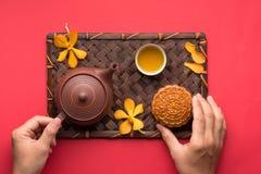 蛋糕中国人著名食物月亮 免版税库存图片