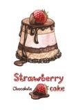 蛋糕例证草莓 免版税图库摄影