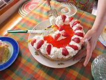 蛋糕供食的草莓 库存照片
