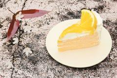 蛋糕切片和给上釉的橙色果酱 免版税库存照片