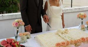 蛋糕剪切婚礼 免版税库存图片