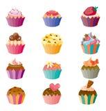 蛋糕动画片图标被设置 库存照片