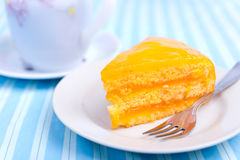 蛋糕叉子桔子 库存图片