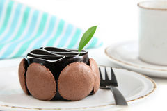 蛋糕可口巧克力的咖啡 免版税库存图片