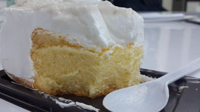 蛋糕吃coconutcake背景纹理 免版税库存照片