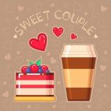 蛋糕和咖啡杯的传染媒介例证 免版税库存图片