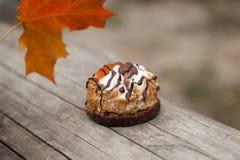 蛋糕和秋天黄色枫叶 免版税图库摄影