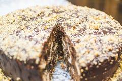 蛋糕和软心豆粒糖的巧克力蛋糕 图库摄影