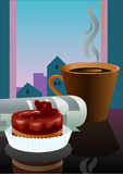 蛋糕咖啡早晨 皇族释放例证