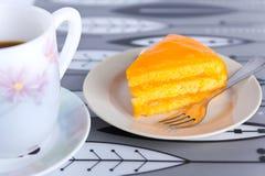 蛋糕咖啡桔子 库存照片