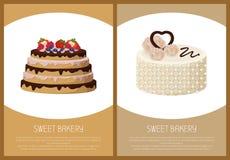 蛋糕品种页网上商店传染媒介例证 免版税库存图片