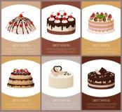 蛋糕品种页网上商店传染媒介例证 库存照片