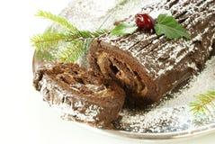 蛋糕圣诞节日志 免版税库存照片