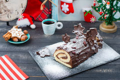 蛋糕圣诞节注册新的Year& x27; s桌 库存照片