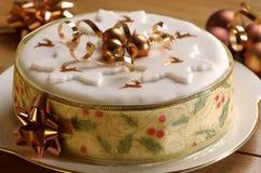 蛋糕圣诞节金子主题 免版税库存图片