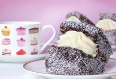 蛋糕奶油色lamington 库存照片