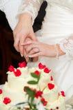 蛋糕婚姻剪切的新婚佳偶 图库摄影