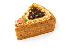 蛋糕巧克力奶油部分 免版税图库摄影