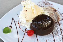 蛋糕巧克力熔岩 库存照片