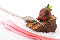 蛋糕巧克力片式 图库摄影