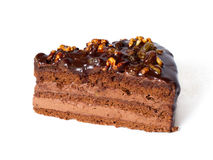 蛋糕巧克力片核桃 库存照片