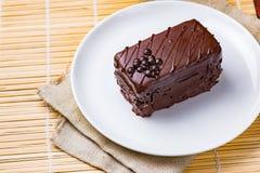 蛋糕巧克力牌照白色 库存照片
