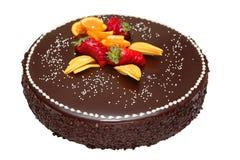蛋糕巧克力装饰了果子 免版税库存照片