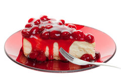 蛋糕干酪樱桃 图库摄影