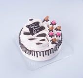 蛋糕或生日蛋糕在背景 免版税图库摄影
