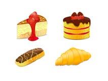 蛋糕新月形面包eclair图标例证集 免版税库存照片