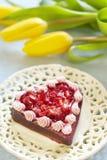 蛋糕日s草莓华伦泰 免版税库存图片