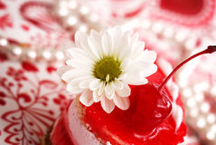 蛋糕春黄菊樱桃果子红色甜点 图库摄影